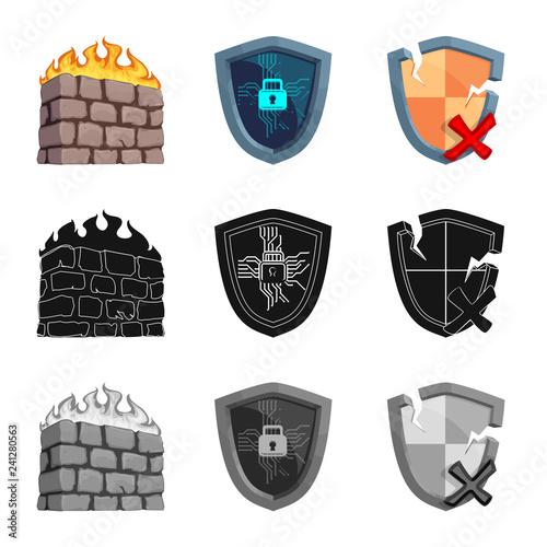 Fotografía  Vector illustration of virus and secure logo