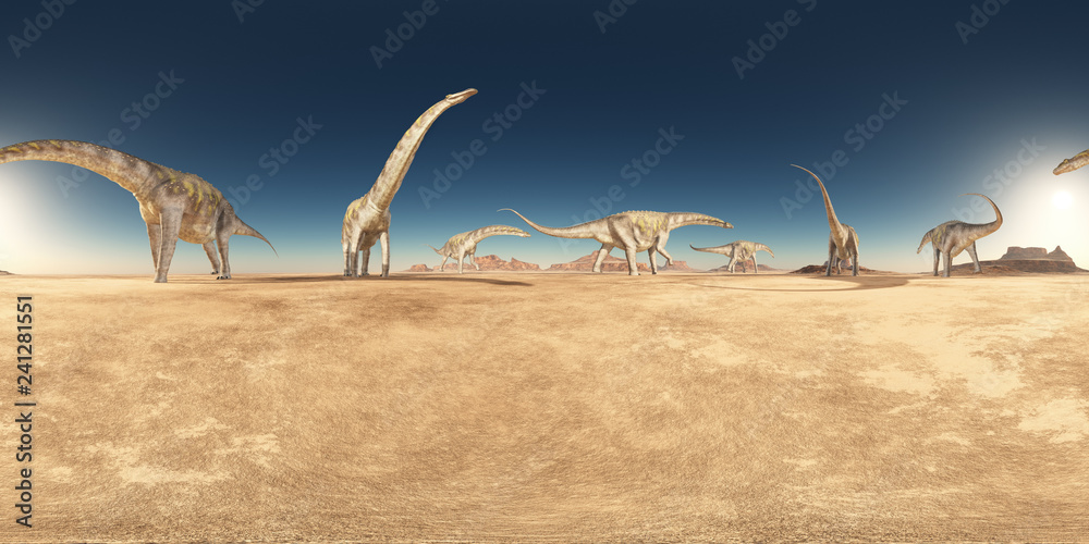 Fototapety, obrazy: Spherical 360 degrees seamless panorama with a group of dinosaurs in a desert