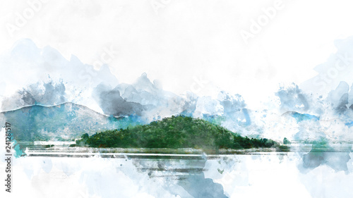 Foto op Plexiglas Arctica Abstract Mountain hill and river lake watercolor painting background.