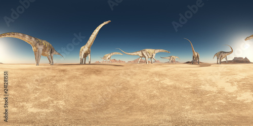 Spherical 360 degrees seamless panorama with a group of dinosaurs in a desert Wallpaper Mural