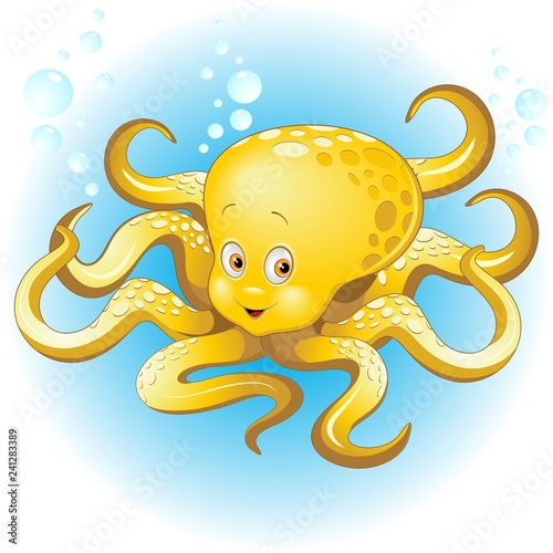 Tuinposter Draw Octopus Naughty and Cute Baby Cartoon Character Vector Illustration