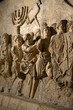 Leinwanddruck Bild Wall relief on arch of titus depicting Menorah taken from temple in Jerusalem in 70 AD - Israel history, Jewish war
