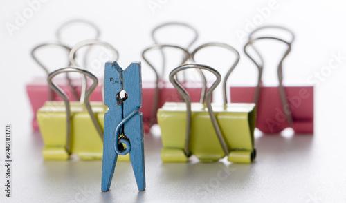 Fotografie, Obraz  colorful paper clip, desk office concept, copy space, on white background