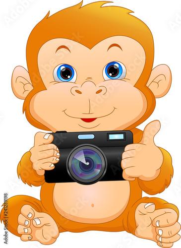 Fotografie, Obraz  cute monkey cartoon holding camera