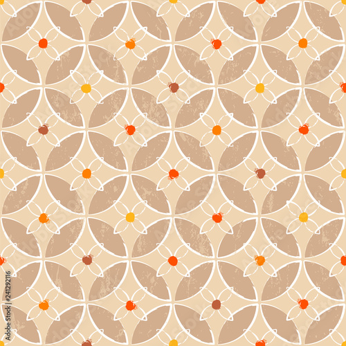 seamless geometric background pattern, with circles, strokes and splashes, retro/vintage style