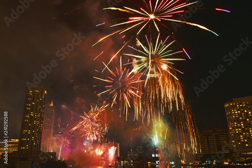 Foto op Plexiglas Artistiek mon. new year celebration fireworks on Cho Phraya river in Thailand
