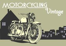 Vintage Motorcycle Illustration Art