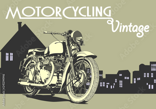 Fotografia, Obraz  vintage motorcycle illustration art