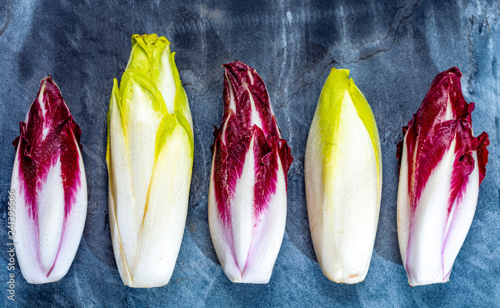 Fototapety, obrazy: Food background, flat lay concept with fresh green Belgian endive or chicory and red Radicchio vegetables, also known as witlof