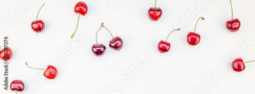Fresh ripe cherry pattern background