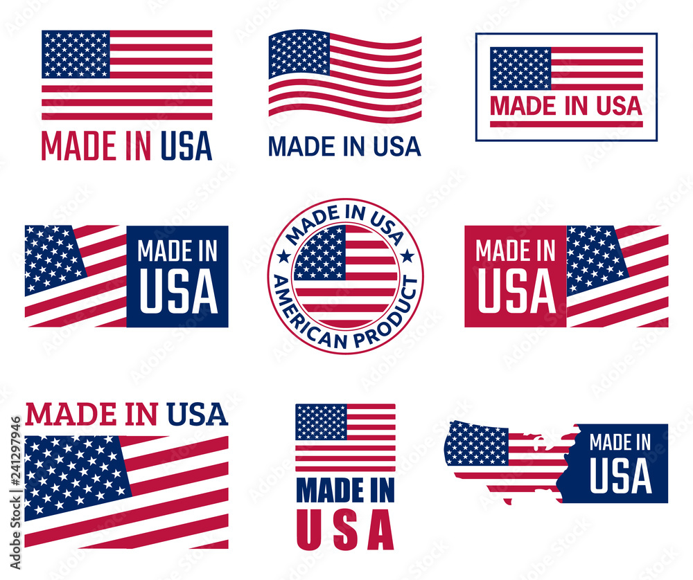 Fototapety, obrazy: made in the usa labels set, american product emblem