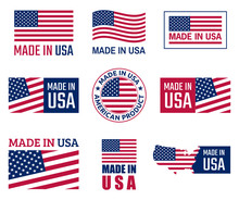 Made In The Usa Labels Set, Am...