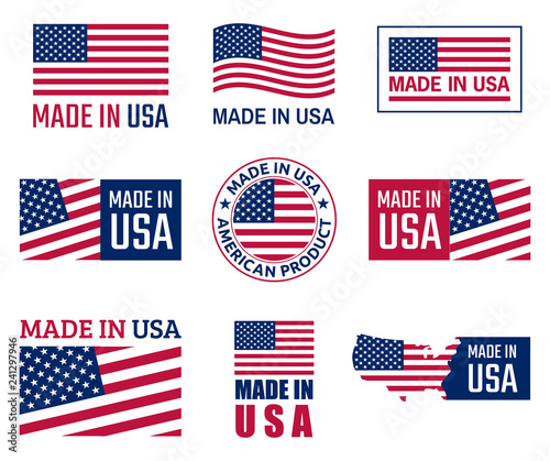 Obraz made in the usa labels set, american product emblem - fototapety do salonu