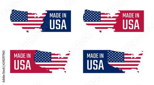 Photographie  made in the usa labels set, american product emblem