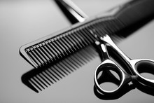 Barber Scissors And A Hairbrus...