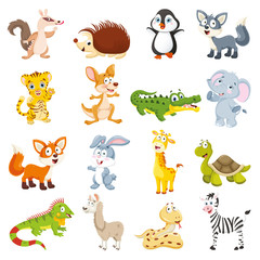 Vector Illustration Of Cartoon Animals Collection