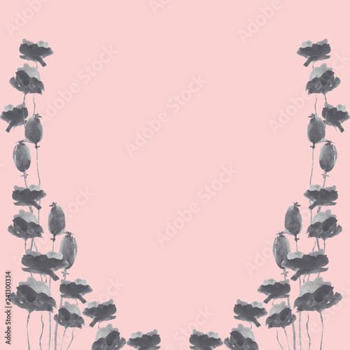 Fotografie, Obraz  Hand drawn wotercolor poppies border, for design, cards and background