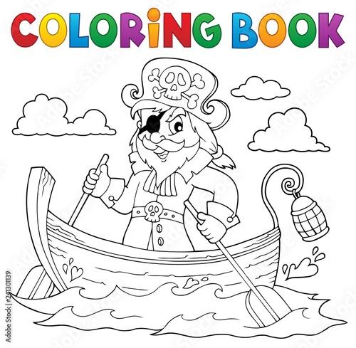 Keuken foto achterwand Voor kinderen Coloring book pirate in boat topic 1