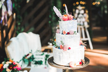 Luxury Decorated Wedding Cake On The Table