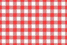 Vector Wide Seamless Pattern. Cell Background Red Color Fashion Cloth Cage. Abstract Checkered Backdrop On White.
