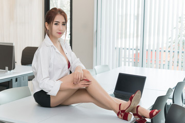 Portrait of asian sexy woman in the office,thailand people