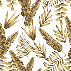 Fototapeta Do sypialni Gold tropical leaves seamless white background