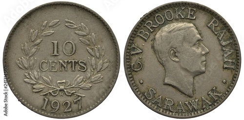 Photo  Sarawak coin 10 ten cents 1927, British influence, value within laurel wreath, date below, head of Rajah C