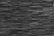 Black Brick Wall Of Dark Stone Texture And Background