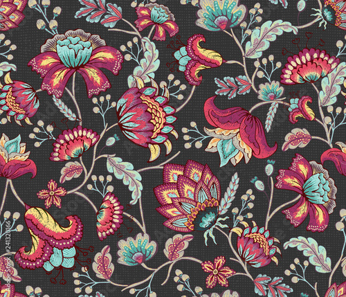 Purple Teal Indian Floral in Dark Gray Seamless Pattern Tablou Canvas