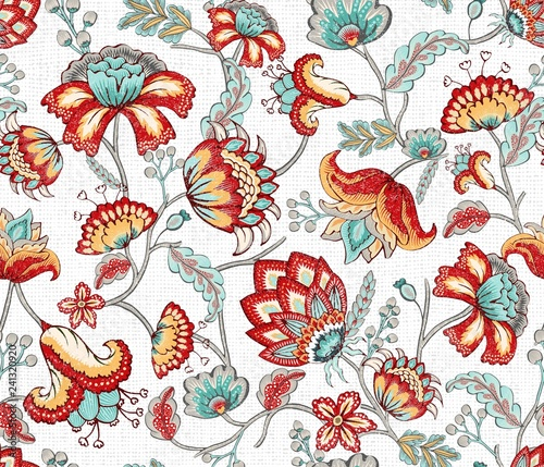 Red Teal Indian Floral Seamless Pattern Tablou Canvas