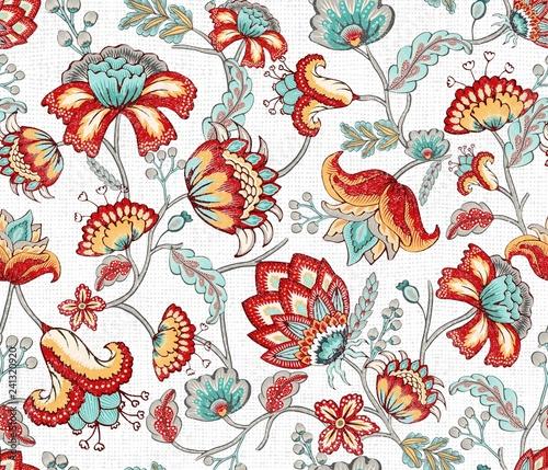 Fényképezés Red Teal Indian Floral Seamless Pattern