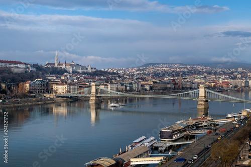 Deurstickers Historisch geb. Fishermans Bastion castle and tower in Budapest