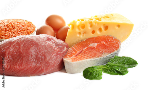 Set of natural food high in protein on white background
