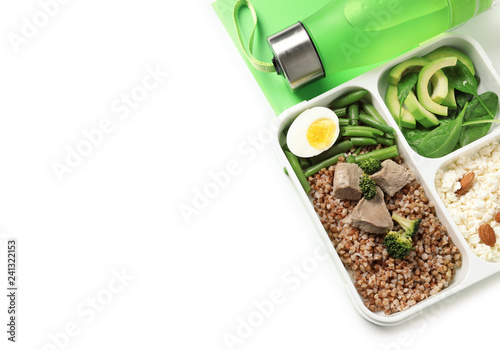 Container with natural protein food on white background, top view. Space for text