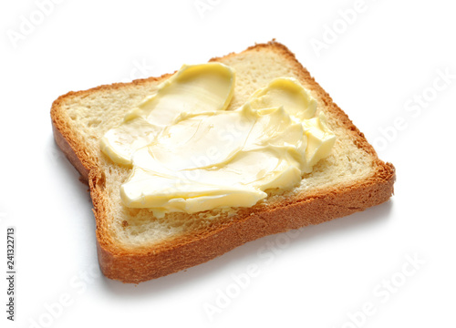 Tasty toast with butter isolated on white