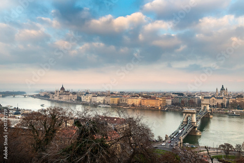 Deurstickers Historisch geb. Panorama of Budapest, Hungary
