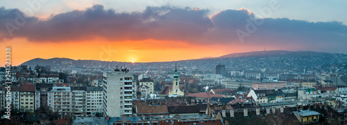 Deurstickers Historisch geb. Panorama of Budapest during sunset, Hungary