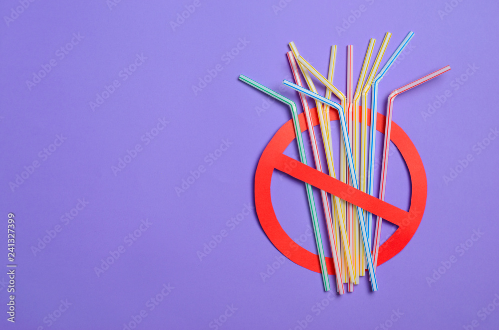 Fototapety, obrazy: Say No to Plastic Straws, Plastic Pollution Concept, Top View