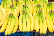 Close Up View Of Bananas In A Row