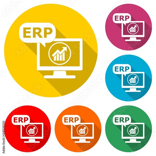 Fotografie, Obraz  ERP icon or logo, Enterprise Resource Planning ERP Process, color set with long