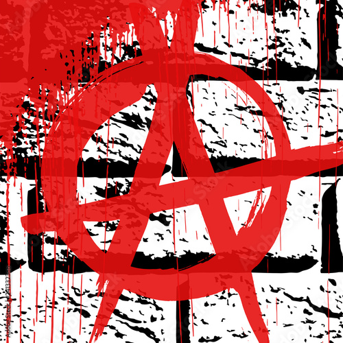 Fotografie, Obraz  Black and white grunge brick wall  texture with red ink hand drawn symbol of anarchy with blood drops