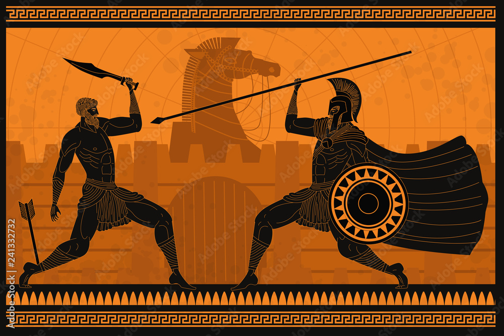 Fototapeta orange and black figures pottery amphora painting of troy war with achilles fighting hector