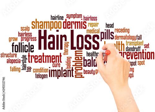 Fotografia  Hair loss word cloud hand writing concept