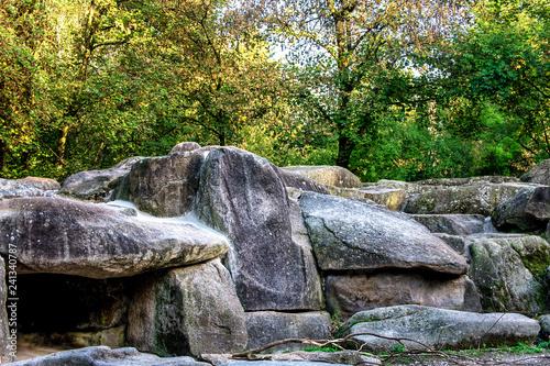 Fotografie, Obraz  A big heap of gigantic stones in forest.