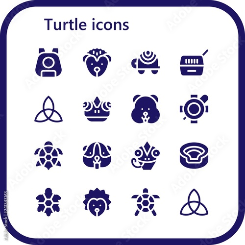 Autocollant pour porte Creatures Vector icons pack of 16 filled turtle icons