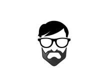 Geek Head With Beard Wear Glasses For Logo Design