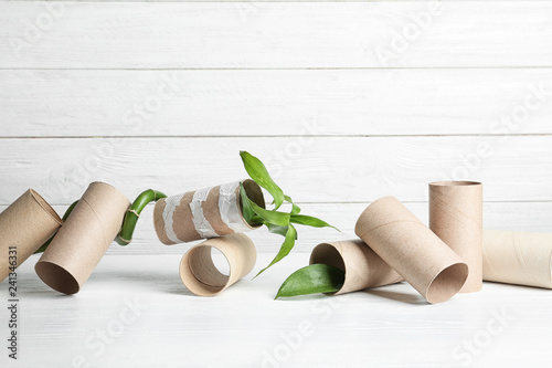 Composition with bamboo plant and empty toilet paper rolls on table. Space for text