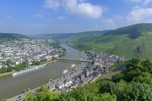 View Of The Old Town From The Castle Ruin Landshut, Bernkastel-Kues, Rhineland-Palatinate, Germany, Europe
