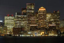 View Of Skyline Of Boston At Night, Skyscrapers, Front Boston Main Channel, Boston, Massachusetts, USA, North America