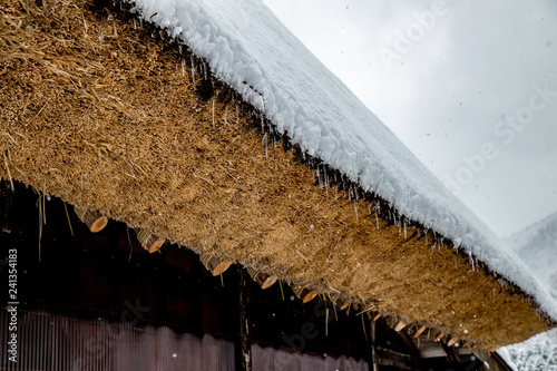 Foto  Roof of Traditional House Gassho style one of UNESCO world heritage sites in Shi